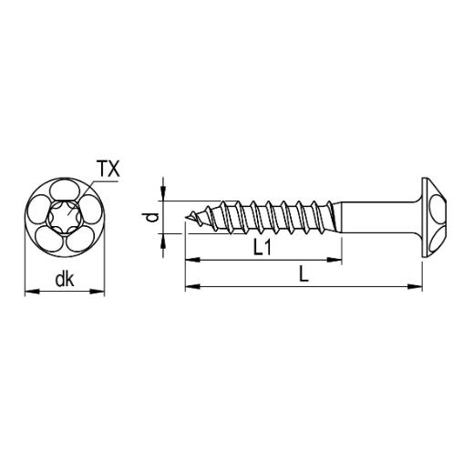 Vis /à t/ête frais/ée en acier inoxydable TORX en V2A /Épaisseur de 4-mm Longueur de vis de 16-mm 1000 pi/èces Fil partiel de 14-mm Vis /à bois 4x16
